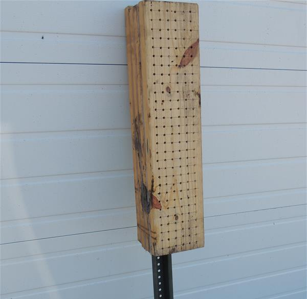 mason bee block made from untreated lumber