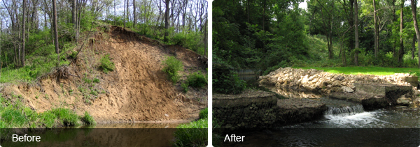 Erosion Control Blankets Before and After
